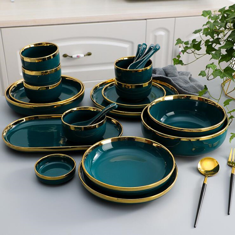 Jante dorée assiette en céramique verte Steak assiette alimentaire vaisselle bol Ins plat à dîner haut de gamme porcelaine ensemble de vaisselle pour hôtel familial