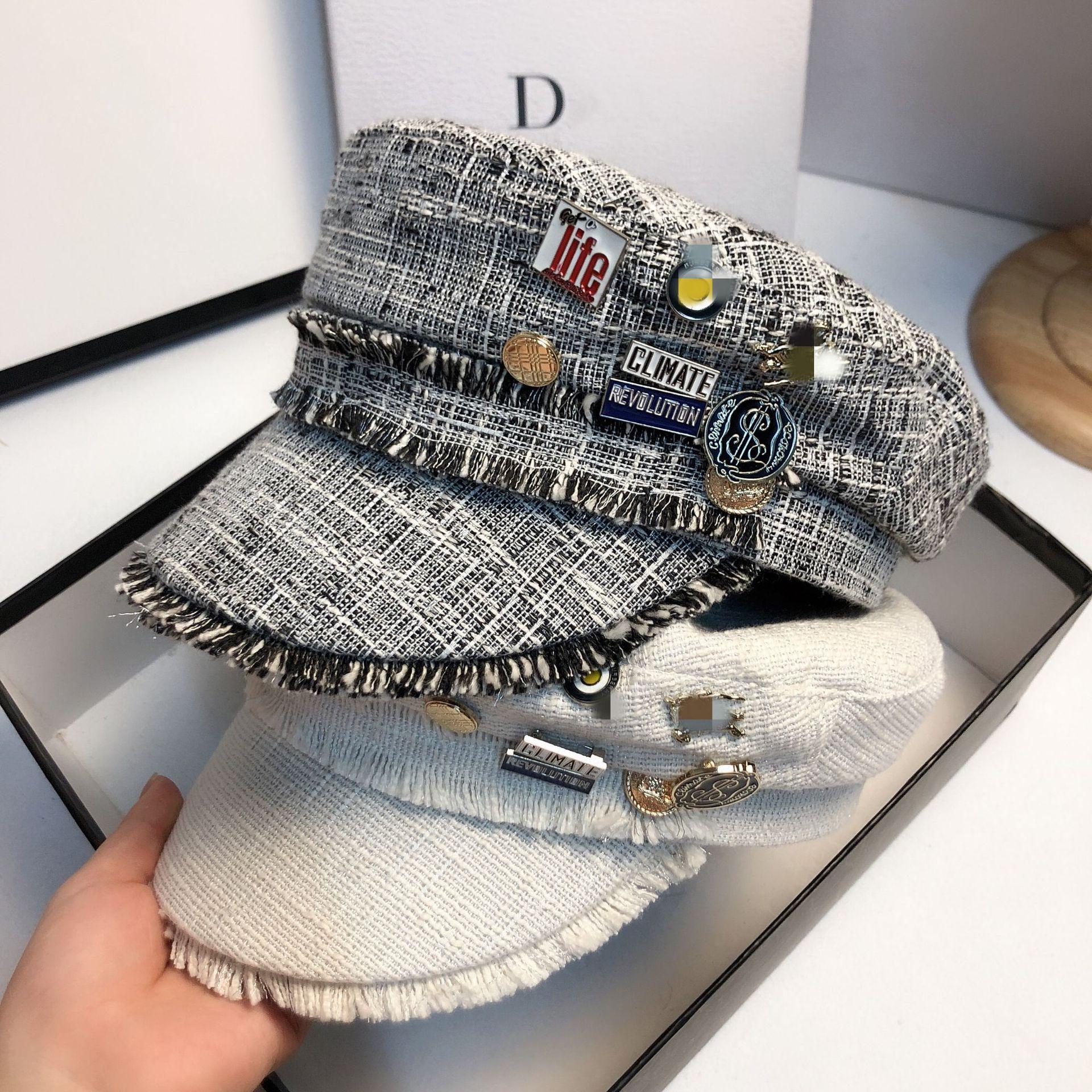 Кепка газетчика JIN-Swhbias Женская, хлопковая шапка в клетку, с плоским верхом, восьмиугольная, с металлической кисточкой, тёмно-синяя, осень 2020