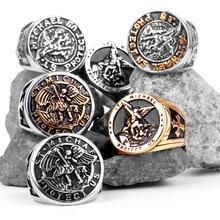 316L нержавеющая сталь St-Michael мужские кольца хороший талисман религиозная личность байкерское кольцо для мужчин мальчик модное ювелирное изделие подарок