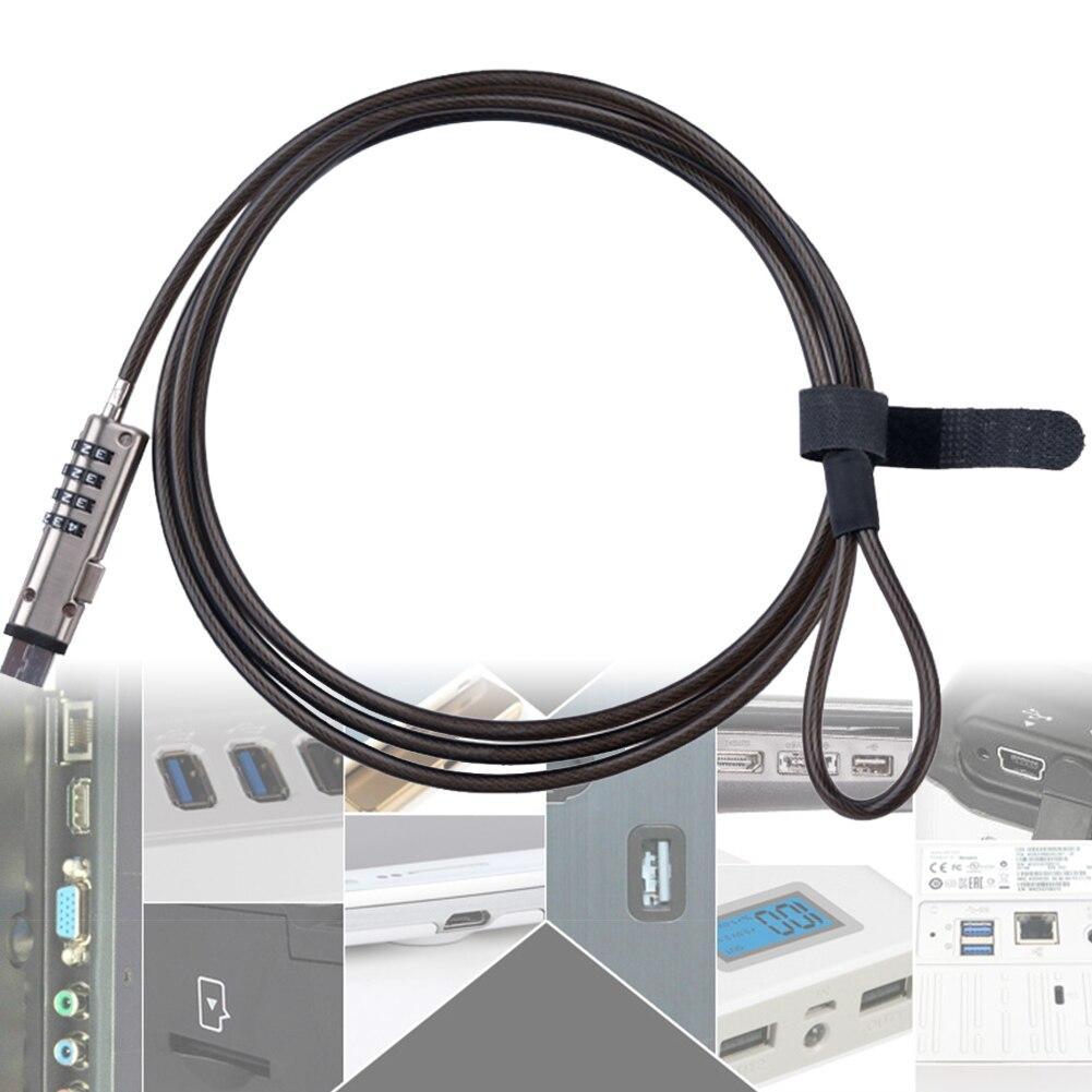 Сталь безопасности замок для ноутбука Универсальный Комбинации USB Порты и разъёмы Кабель без ключа Тетрадь 4 цифры пароль для офиса профессиональные Анти-кражи