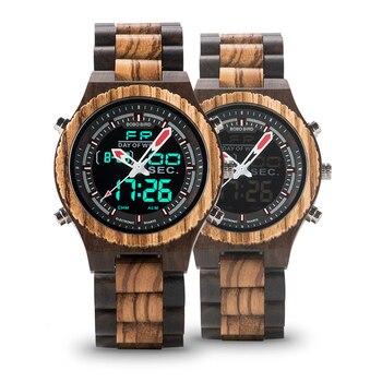 Reloj led de madera con numeración retroiluminada