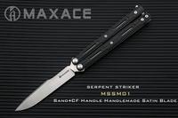 Maxace serpente striker cetim m390 lâmina de aço fibra carbono escala/forro titânio