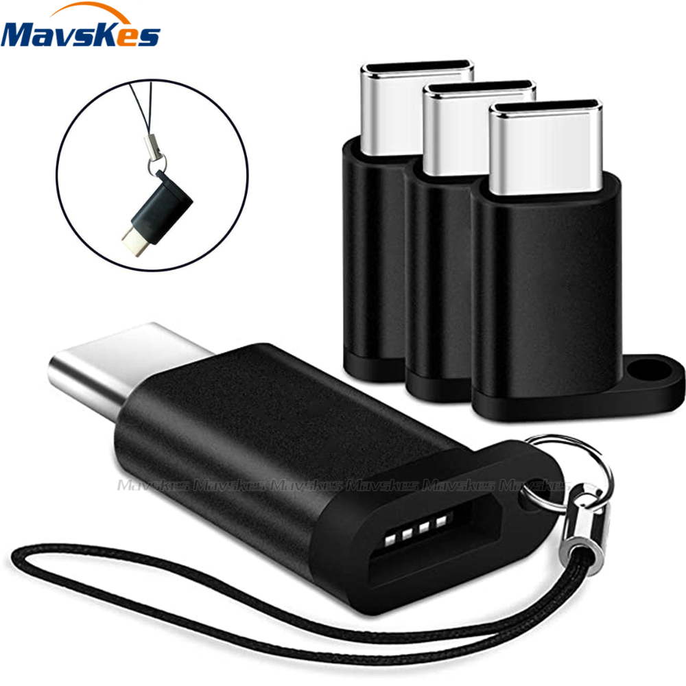 USB Type-C Adapter Portable Keychain Type C To Micro USB Cable Converters For Xiaomi Redmi For Samsung Huawei Tablets Laptops