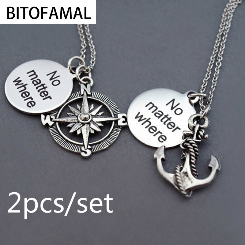 Compass Anchor Statement Necklace No Matter Where Friendship Pendant Long Distance Relationship Gift for Couples Friends Family(China)