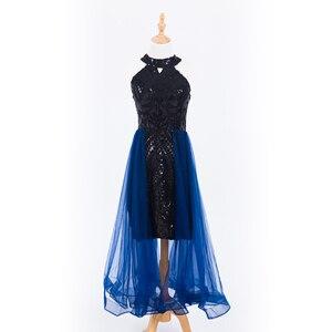 Image 1 - 플러스 사이즈 이브닝 호스트 긴 드레스 높은 목 지퍼 간단한 파티 가운 Soiree 섹시한 공식 드레스 MS 0080
