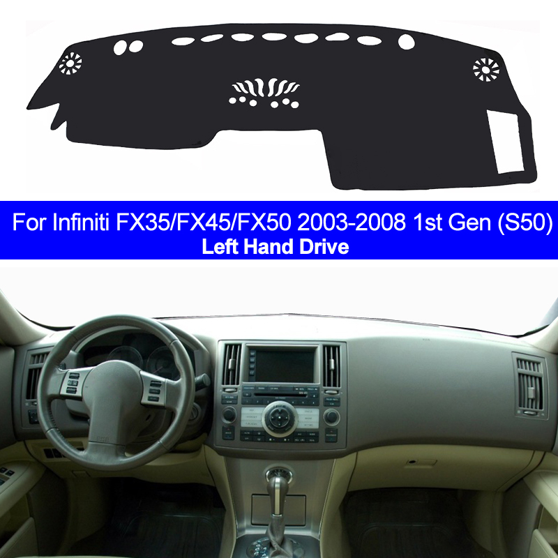 2 Layers Car Inner Dashboard Cover Dashmat Pad Carpet Dash Sun Shade For Infiniti FX35 FX45 FX50 2003-2006 2007 2008 Left Side