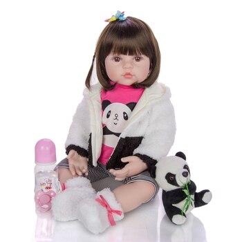 60CM sweet Panda baby girl doll  bebe reborn toddler soft Silicone vinyl reborn baby Bonecas menina kids gift toys