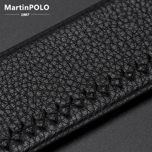 Image 5 - Мужской ремень MARTINPOLO из 100% натуральной воловьей кожи, Роскошный деловой ремень с автоматической металлической пряжкой, модный ремень из воловьей кожи MP02801P