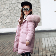 Новинка года; модная детская зимняя куртка зимнее пальто для девочек детское теплое длинное пуховое пальто с меховым воротником и капюшоном для От 4 до 14 лет-подростков
