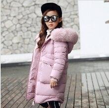 2019 yeni moda çocuk kış ceket kız kış ceket çocuklar sıcak kalın kürk yaka kapşonlu uzun aşağı palto genç 4Y 14Y