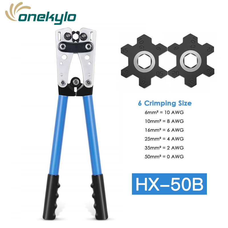 HX-50B Battery Cable Lug Crimping Tool Wire Crimper Hand Ratchet Terminal Crimp Pliers For 6-50mm² 1-10AWG With Cable Cutter