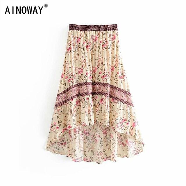 בציר שיק קיץ אופנה נשים פרחוני הדפסת החוף בוהמי חצאית גבוהה אלסטי מותניים מקסי סדיר אונליין Boho חצאית Femme