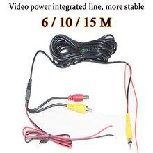 6/ 10 / 15 m extensão linha de alimentação de vídeo cabo de linha integrada para câmera de visão traseira câmera frontal