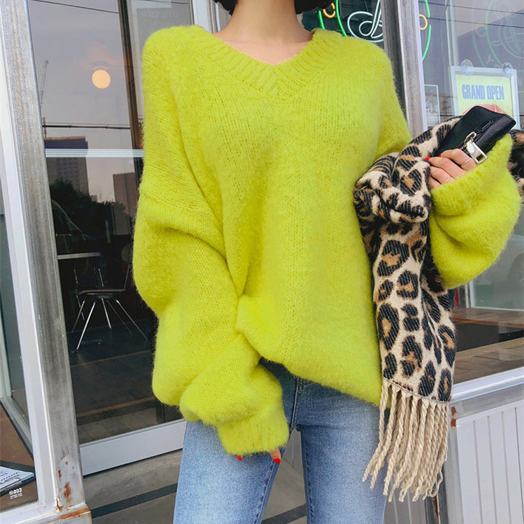 Cashmere Sweater Women Pulover Feminino V Neck White Yellow Jumper Fall 2019 Korean Style Knitted Harajuku Blusa Termica Chompas