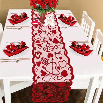 Love Table Runner Red Heart Print Decorations Red Lace Wedding Party Valentines Day Gift Home Table Cloth 33x183cm/13x72inch image