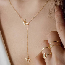 LISMLISM Classic Star Personalized Necklace Chain Women Moon Necklaces Jewelry Silver Color Girl Stainless Steel Kpop Collares