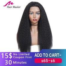Glueless frente do laço perucas de cabelo humano pré arrancadas remy 13x4 yaki perucas de cabelo humano para preto feminino indiano kinky peruca reta