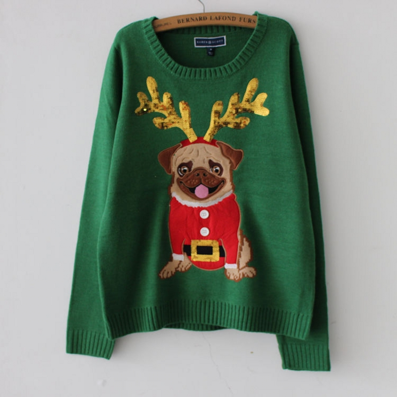 Ugly Sweater Christmas Sweater Women Green Pug Dog Embroidery Sequins Long Sleeve Pullover Knitted Jumper Tops M99591