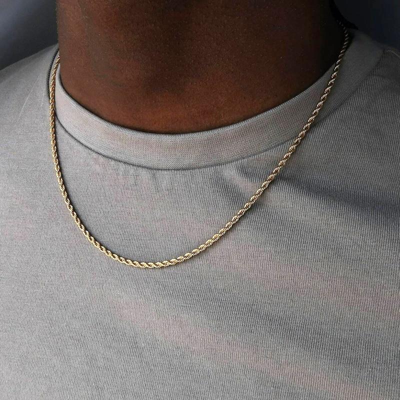 2020 collana da uomo classica con catena in corda larghezza 2/3/4/5 MM collana a catena cubana Figaro in acciaio inossidabile per uomo donna gioielli 1