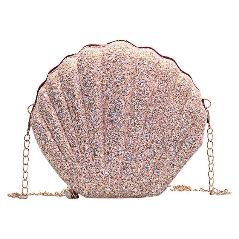 Cute Sequins Shoulder Messenger Handbags Women Chain Shell Crossbody Bags Phone Money Pouch Chain Crossbody Bags For Women