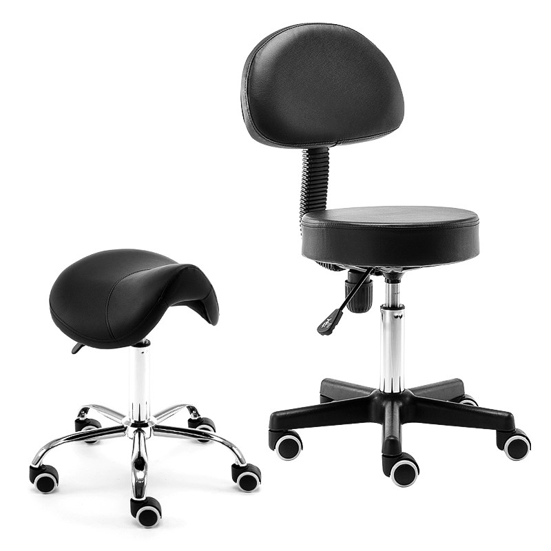 Rolling Massage Chair Saddle Stool Leather Upholstery Portable Pedicure Salan Spa Tattoo Facial Beauty Massage Swivel Chair