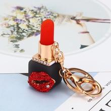 GEMIXI Crystal Rhinestone Lipstick Makeup Keyring Purse Bag Car Pendant Keychain 4.27 trendy rhinestone cut out winebottle keyring