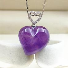 Genuine Natural Purple Amethyst Quartz Crystal Women Man Heart Love Pendant 23x21mm Reiki Stone Chain Necklace AAAAA