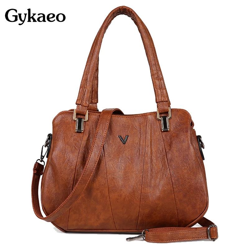 Gykaeo Luxury Handbags Women Bags Designer Fashion Tote Bag Ladies Soft Leather Shopping Small Crossbody Shoulder Bag Sac A Main