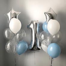 1stハッピーバースデーシルバーブルー箔番号バルーン最初少年少女パーティーの装飾私1 1年間風船用品グロボス