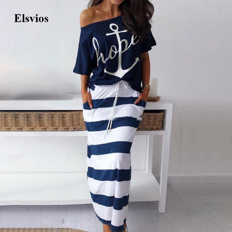 Elsvios Off Shoulder Top And Skirt Two Piece Dress Set Women Batwing Sleeve Blouse Shirt Autumn Striped Pocket Slash Neck Dress