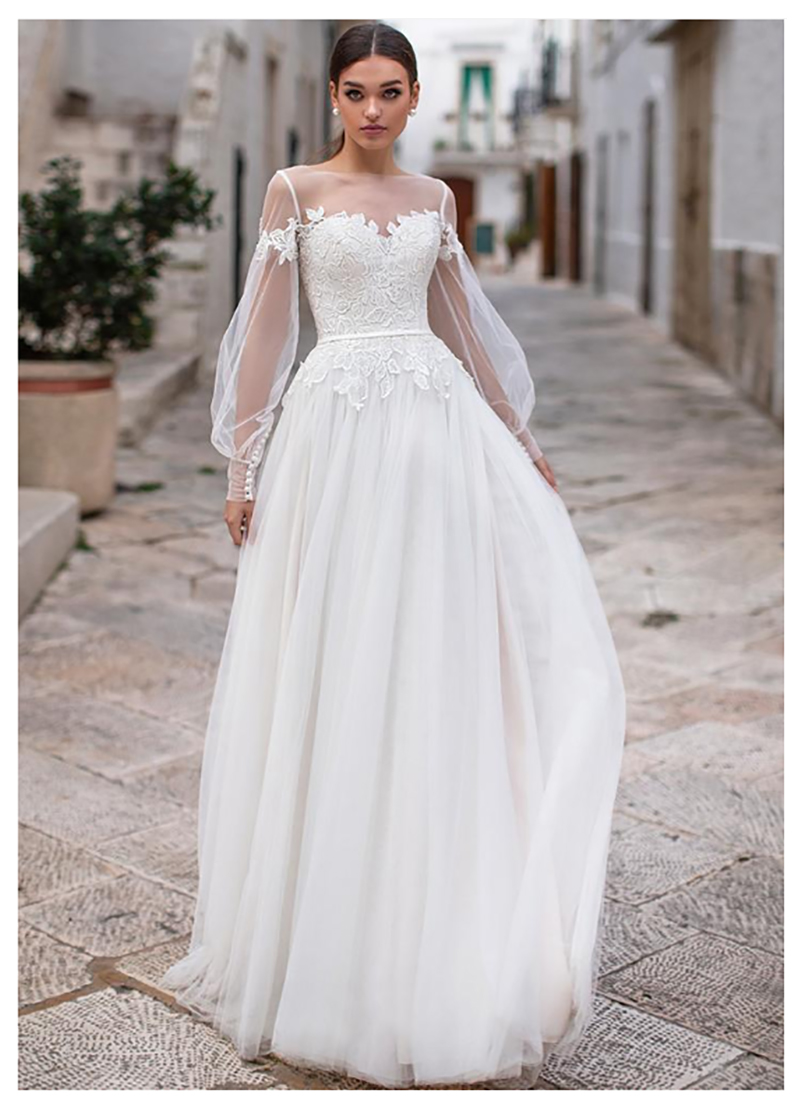Sheer Long Sleeves Lace Appliques A-Line Wedding Dresses Soft Tulle Bridal Gowns Sweep Train Long Customized Modest Women Dress