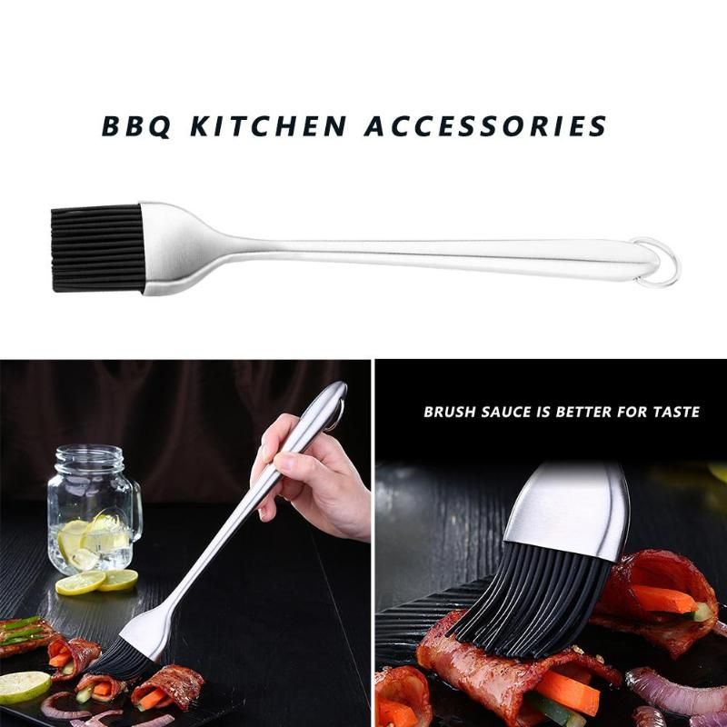 Silicone Oil Brush Security Multipurpose Stainless Steel Handle BBQ Bakeware Bread Cook Pastry Oil Cream Tools Kitchen Gadget
