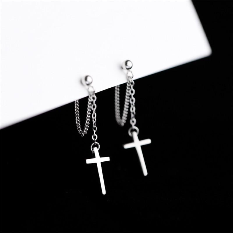100% 925 Sterling Silver Tassel Cross Stud Earrings For Women Kids 2020 Korean Wedding Jewelry boucle d'oreille Hypoallergenic