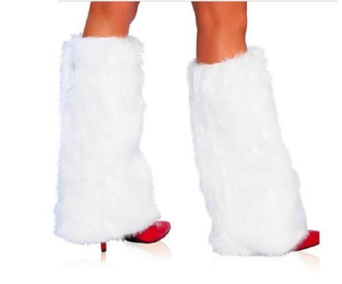 3Color Sexy Faux Fur Leg Warmers Rave Fluffies Lady Boot Cover  Leg Warmers Santa Christmas
