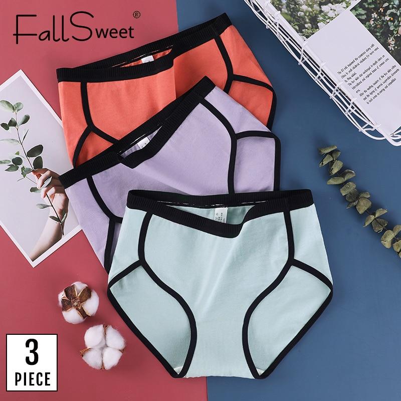 FallSweet 3 adet/grup! Artı boyutu pamuk külot Patchwork iç çamaşırı kadın orta bel külot M -4XL