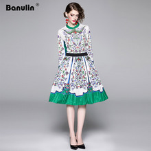 Banulin Fashion Runway 2 Two Pieces Set Autumn Womens Long Sleeve Floral Printed Blouses + Midi Pleated Skirt Sets Suits