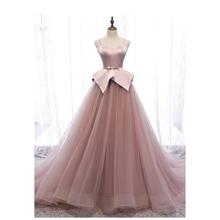 A-line sukienka na studniówkę es Sweetheart różowa długa suknia balowa sukienka na studniówkę suknie wieczorowe paski Spaghetti szarfa z kokardą suknie wieczorowe tanie tanio LEADERBRIDALS Kochanie Bez rękawów NONE Długość podłogi Prom dresses REGULAR Tulle vintage Naturalne P25291 Poliester
