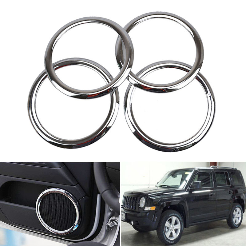 Door Stereo Speaker Collar Chrom Cover Trim Bezel Fit Jeep Patriot 07-15 Compass