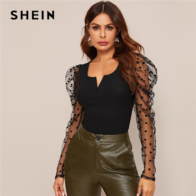 SHEIN Black Notch Neck Dobby Mesh Gigot Sleeve Rib-knit Top Women Spring V-cut Sheer Slim Fitted Glamorous Office Lady T-shirts