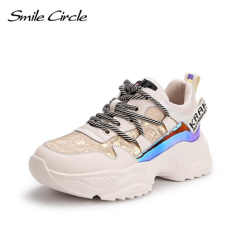 Sourire cercle femmes baskets plates plate-forme chaussures à lacets Patchwork fond épais mode cheval cheveux décontracté dames baskets