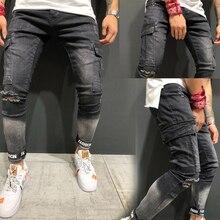 Men's Elastic Jeans New Quality Hollow Small-foot  Fashion Jeans Large-pockets Men's Long Pants цена и фото