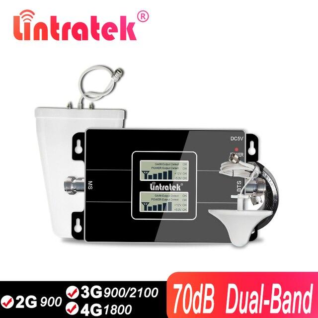 Lintratek GSM 3G Bộ Khuếch Đại 4G 2100Mhz WCDMA Tăng Cường Tín Hiệu 2G 4G Celluar Reapeater 900 4G GSM LTE Moblie Repeater 65dB KW17L GD