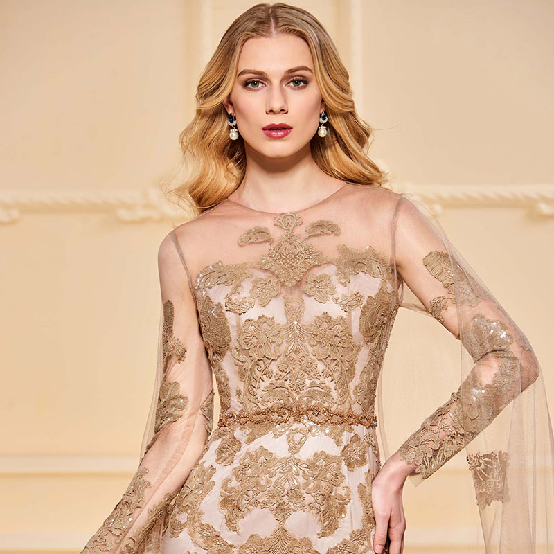 Tanpell Elegant Evening Dress Long Sleeves Scoop Neck Beading Button Lace Floor Length Mermaid Evening Dress 2019 in Evening Dresses from Weddings Events