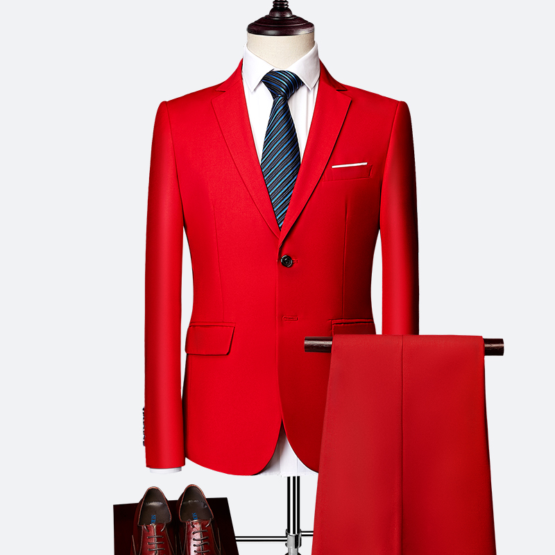 wedding : Classic Mens Suit Set 2019 High-end Customized Solid Color Slim Business Dress Groom Wedding Clothing High Quality Tuxedo  2pcs