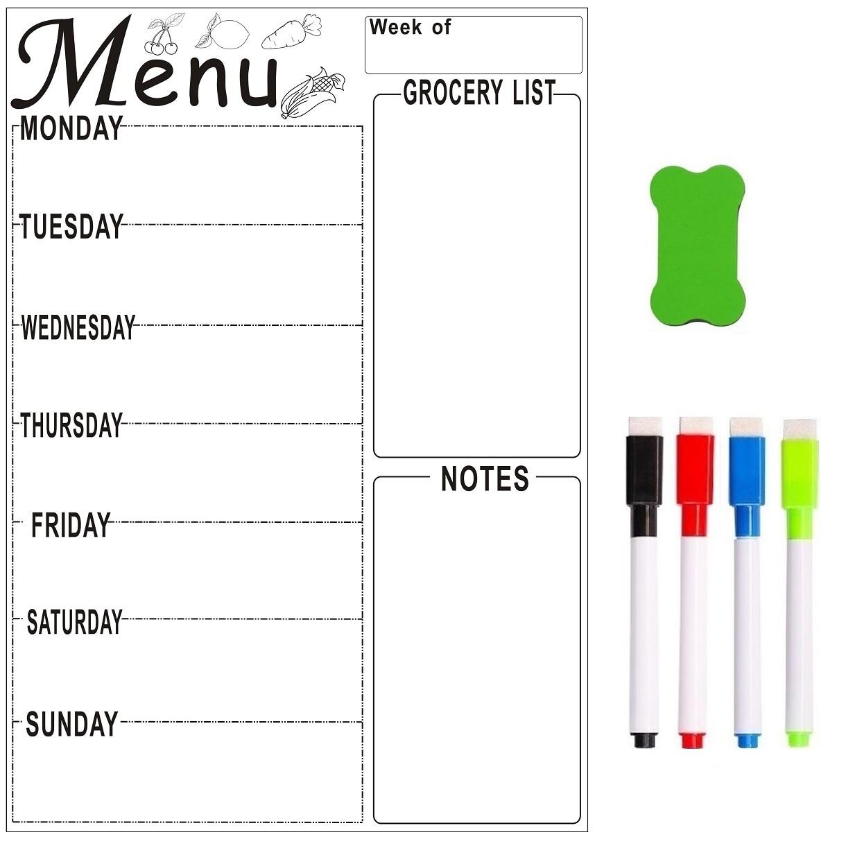 A4 Magnetic Refrigerator Whiteboard Weekly Menu Meal Planner Grocery To Do List Fridge Sticker Marker Pen Calendar Erase Board