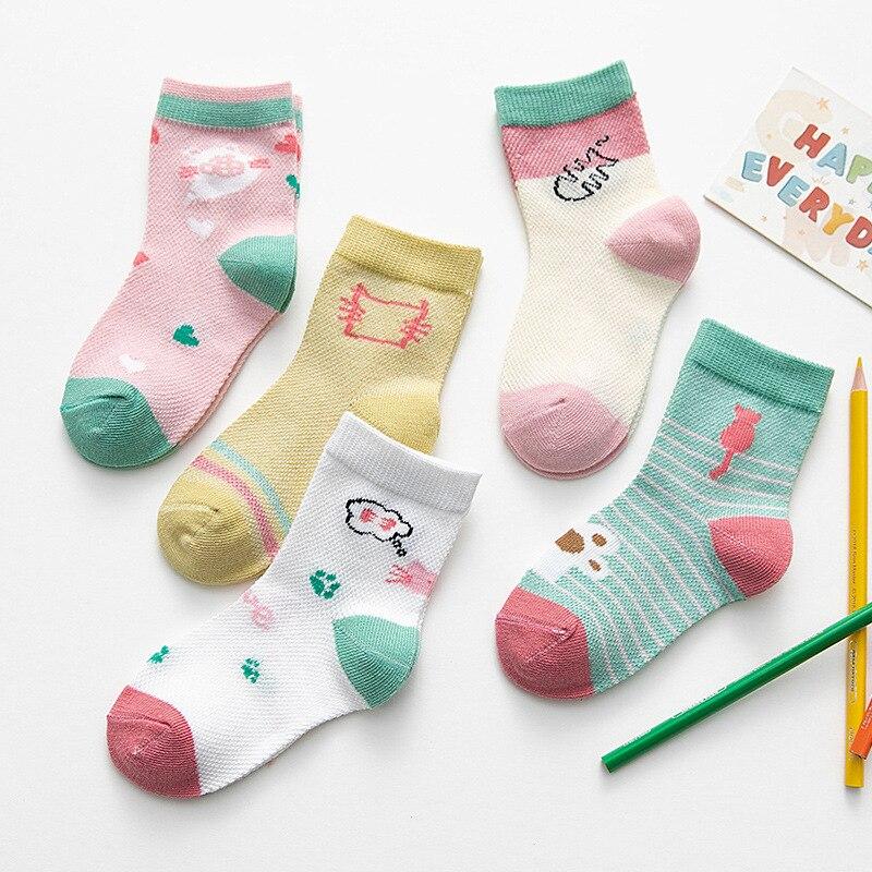 5 pairs//lot Soft Mesh Summer Cotton Knit Girl Baby Socks Kids Boy Newborn Socks