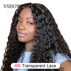 VSHOW Water Wave Lace Front Human Hair Wigs For Women 13*6 180% Density HD Transparent Lace Frontal Wig Glueless Full Lace Wigs(China)