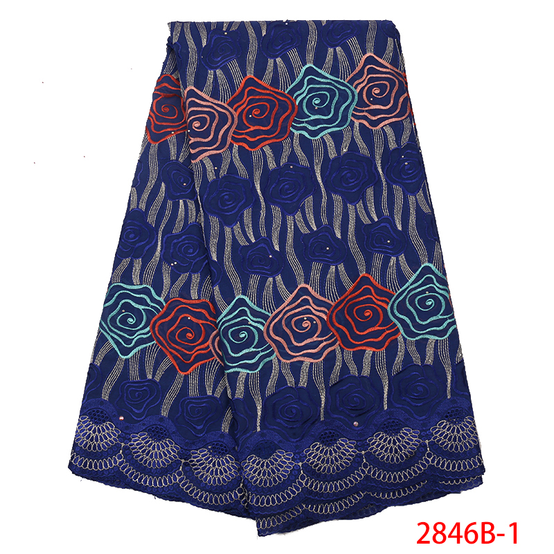 Hot Sale Nigerian Lace Fabric,Newest Swiss Voile Lace Stone,African Cotton Lace Fabric 2019 For Women KS2846B-1