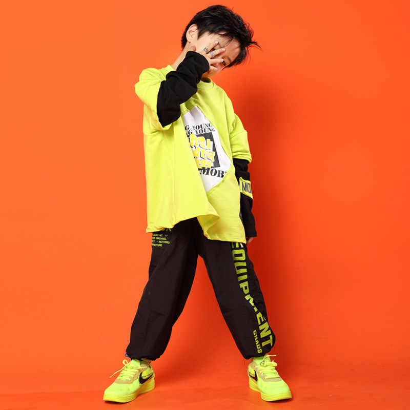 Chico Cool amarillo imprimir camiseta camisetas negro correr Casual Hip Hop pantalones Ropa para Niñas chico Jazz baile traje ropa
