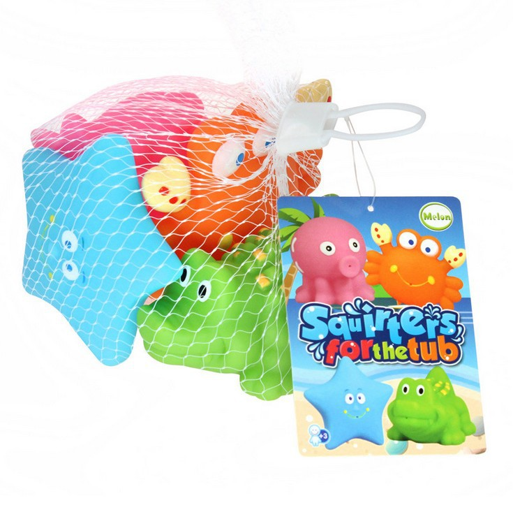 Infant Oceans Bath Beach Water Spouting Four-piece Set Cartoon Vinyl Bath Toy. 09